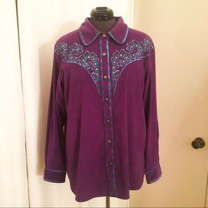 Bob Mackie Wearable Art Western Embroidered Shirt
